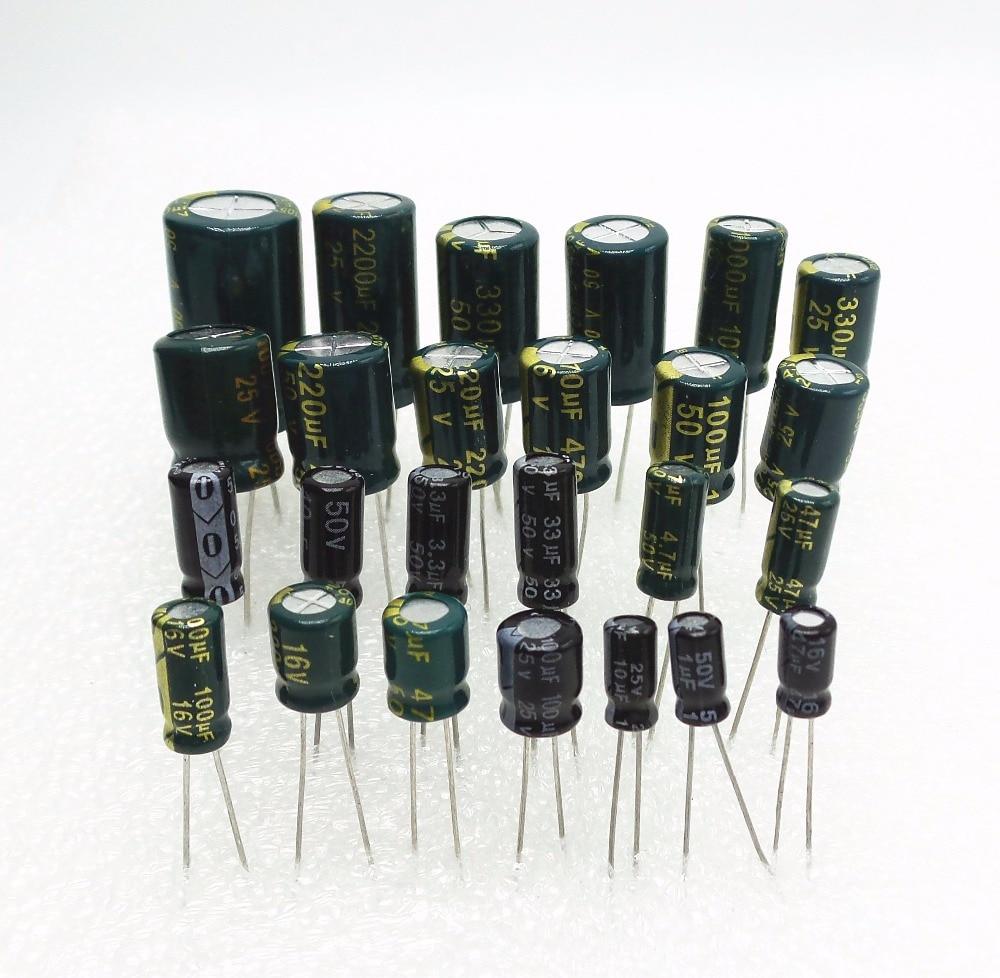25Valuesx5Pcs всего 125 шт 16V 25v 50 мкФ 10 мкФ 47 мкФ 100 мкФ 220 мкФ 330 мкФ 470 мкФ 1000 мкФ 2200uf Алюминиевый Комплект электролитических конденсаторов