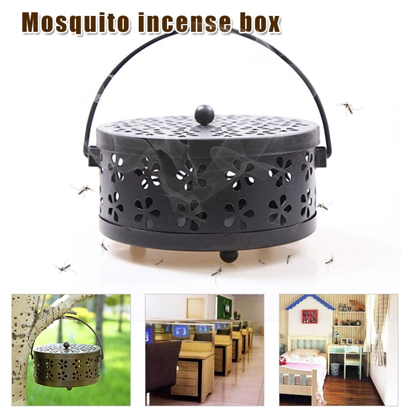 Soporte de la bobina del Mosquito Portable Hollow Metal incienso Holder bandeja con tapa WXV venta