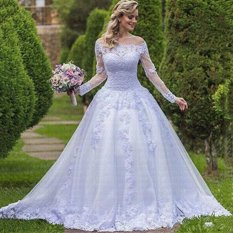 فستان زفاف من الدانتيل ، فستان حديقة ، أكمام طويلة ، 2019