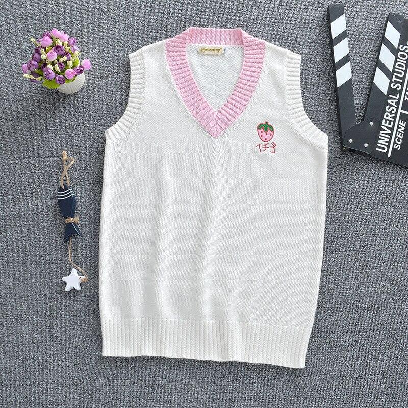 Rosa morango amarelo banana rosa pêssego branco sorvete simples v-neck colete camisola