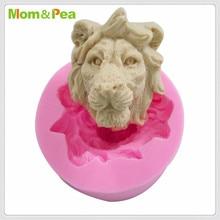 Mom & Pea MPA1895 molde de silicona con forma de cabeza de león para decoración de tartas Fondant molde 3D de grado alimenticio