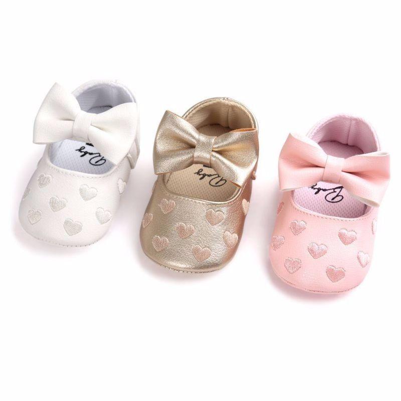 Recién Nacido bebé niña Causal zapatos cuna zapatos 3 Estilo De cuero estampado de corazón gancho de suela suave zapatos de bebé de 0 -18 M