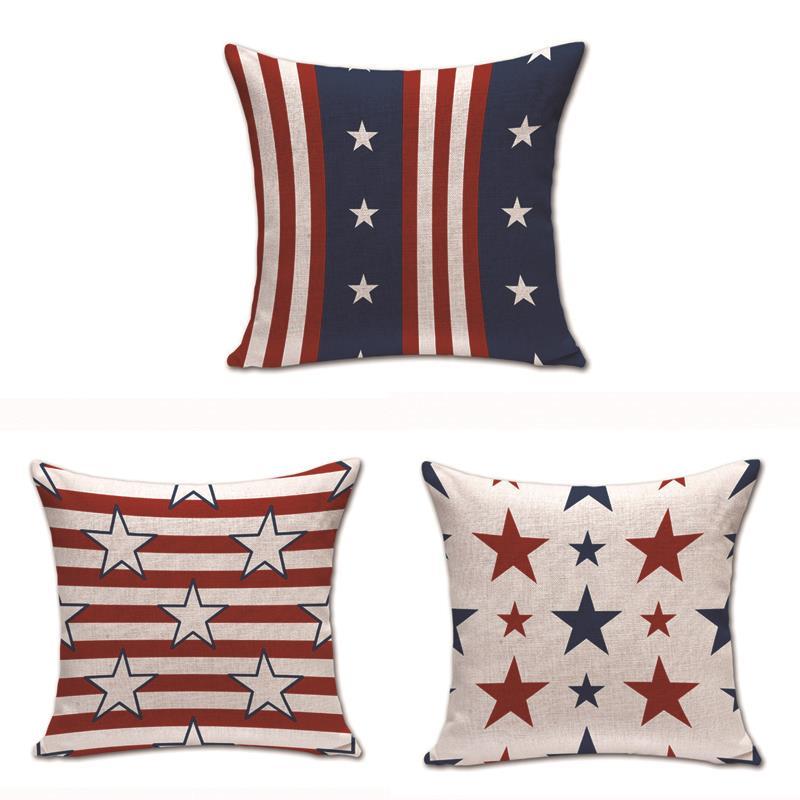45*45 см Смешанные льняные Чехлы для подушек со звездами цветные Чехлы для спальни декоративный винтажный с флагом США недорогие Чехлы для по...