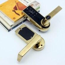 LACHCO serrure de porte électronique intelligente   Clavier à écran tactile, carte à mot de passe, loquet en acier inoxydable, alliage de Zinc, argent or SL16073S