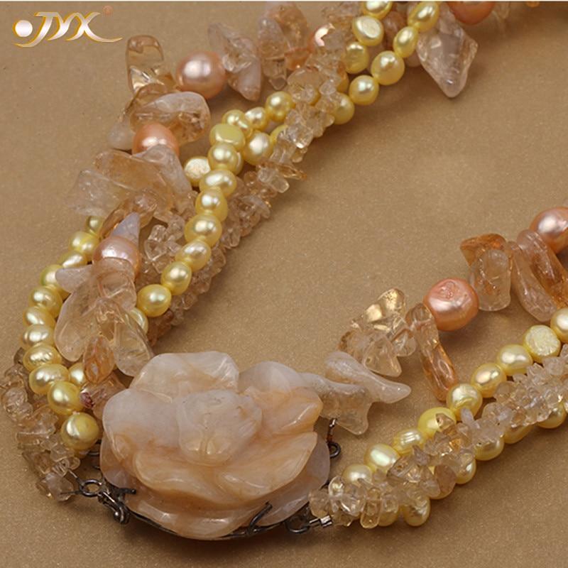 """JYX collar de flores de Jade de estilo clásico cinco hebras de perlas de agua dulce de 6-7mm con citrino y jade de 18,5"""" las mujeres"""