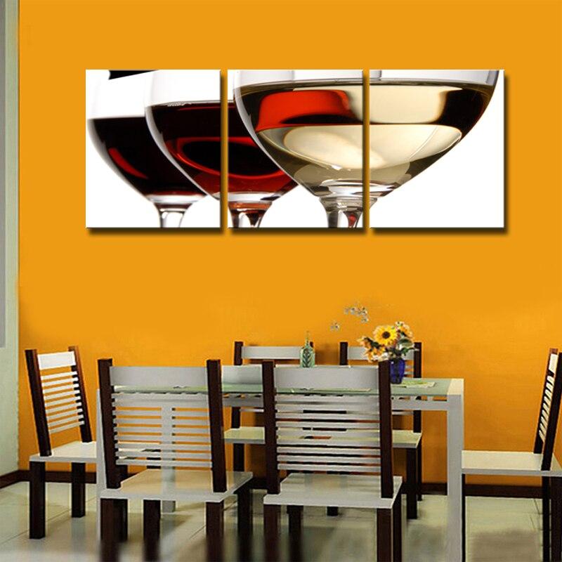 3 piezas de impresiones modernas en lienzo para cocina, obra de arte, copa de vino rojo abstracto, botella de pared, imagen modular artística para comedor decorativo