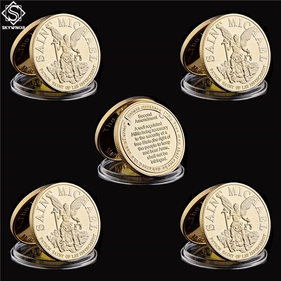 5PCS/Lot USA St Michael The Prayer Archangel Gold/Silver Token Collectible Coin Set USA Wholesale