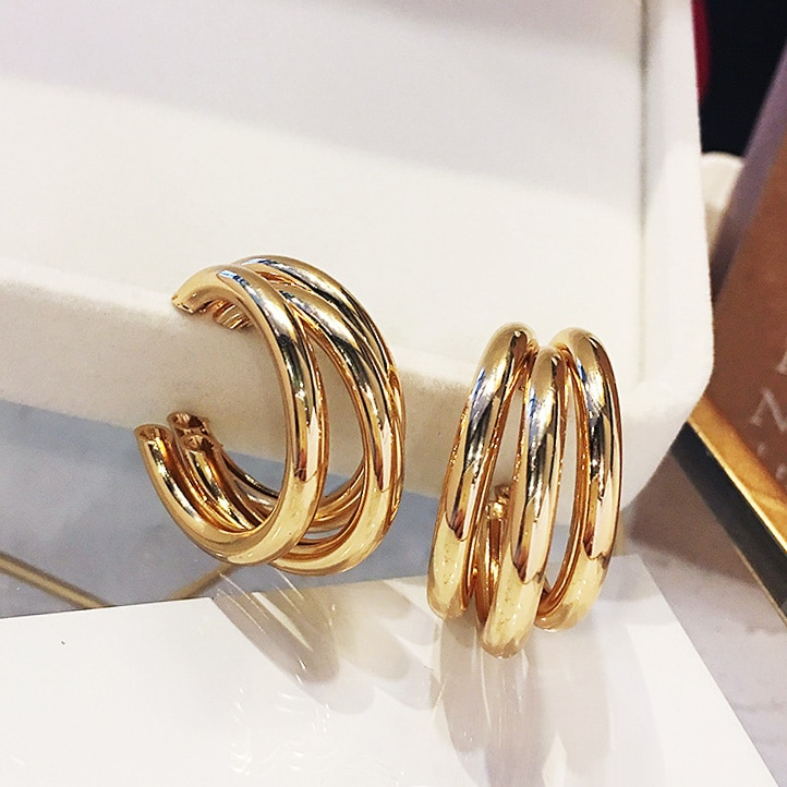 Fashion Za Gold Metal Drop Earrings for Women Steam Punk Big Round Design Statement Earrings Brincos Geometric Jewelry