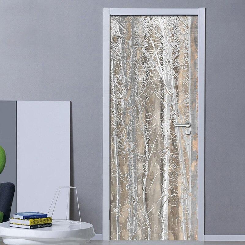 Mural de puerta 3D, papel tapiz de textura lisa, estilo nórdico, Fresco, habitación, puerta, adhesivo para decoración del hogar, póster, papel pintado fotográfico PVC