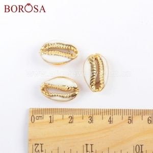 BOROSA Jewelry 10PCS Gold Color Cowrie Shell Bead Undrilled Natural Shell Pendant Beads For Bracelet Jewelry G1690