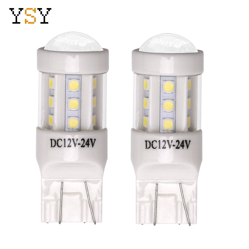 YSY 2 uds T20 W21W 7440 bombilla LED 18SMD 3030 Chip coche LED Back-Up Reverse intermitente DRL bombillas blancas ámbar