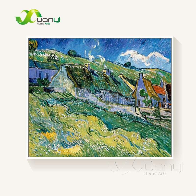 Pintura al óleo abstracta de cabañas de paja Van Gogh sobre lienzo decoración para el hogar hecha a mano lienzo pintado a mano sin marco