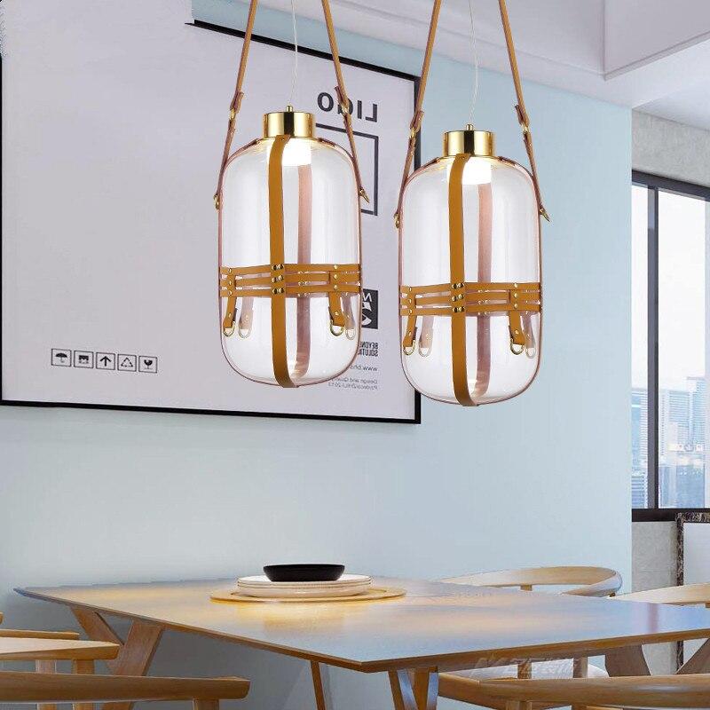 Botella de agua creativa, diseño de cabestrillo de cuero, cristal transparente, lámpara colgante LED, iluminación de decoración simple para restaurante