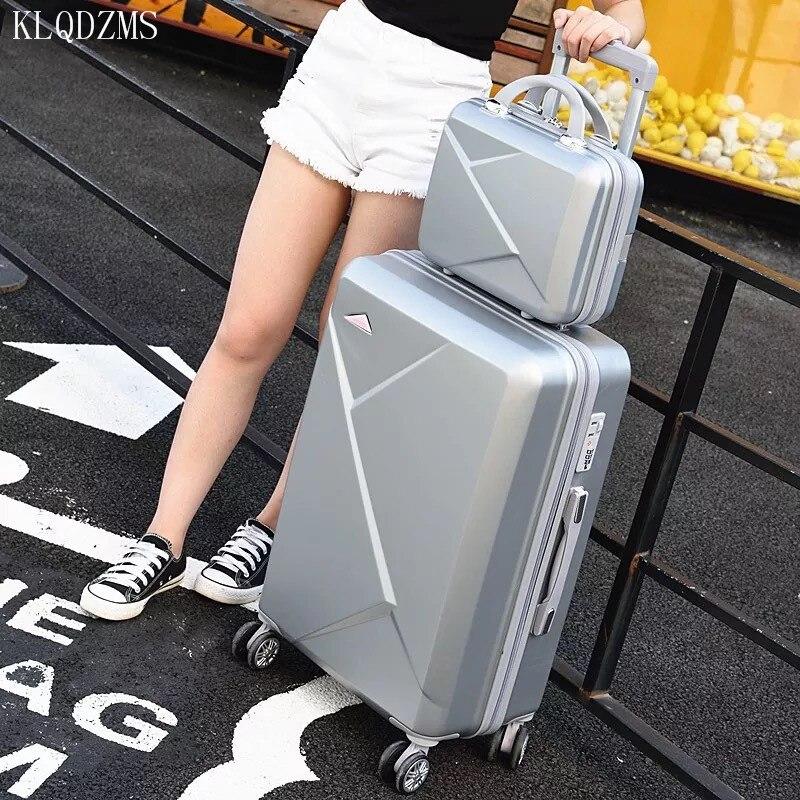 KLQDZMS 2 unids/set precioso 20/22/24/26/28 pulgadas cubierta de carrito ABS juego de equipaje rodante estudiantes equipaje de viaje sobre ruedas