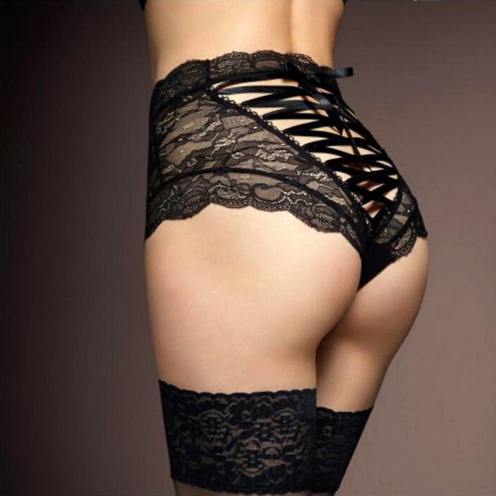 Venda quente cuecas para mulheres moda de cintura alta preto rendas cueca sexy cruz lacing underwear lady string tanga calcinha