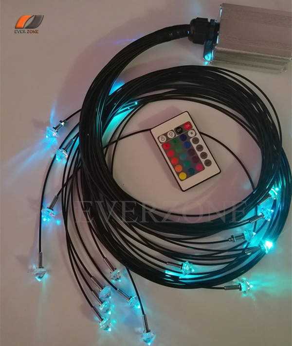 5w led fonte de luz 2mm fibra óptica iluminação céu estrela teto 40 pces comprimento 0.5m + 1m + 1.5m 2m com 5 pces acessórios de extremidade de cristal