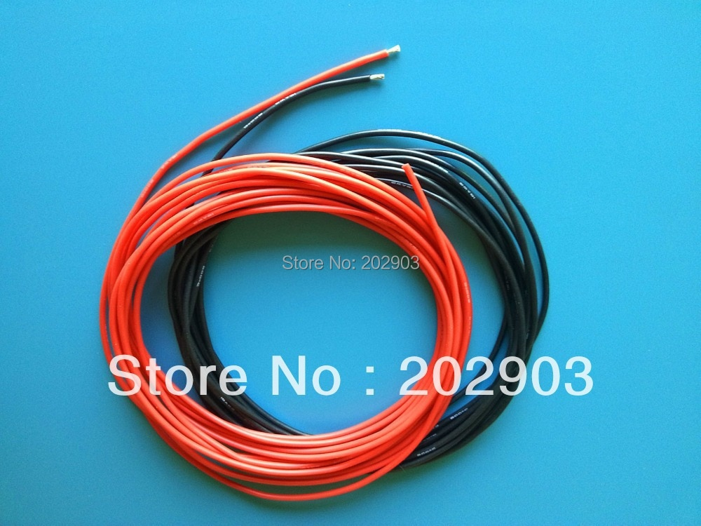 Cable de conexión de 1 metro rojo + 1 metro Negro 18 #18 AWG 18AWG blando y resistente al calor de silicona, alambre de Gel de sílice, Cable de conexión para batería modelo RC, parte WOW-36