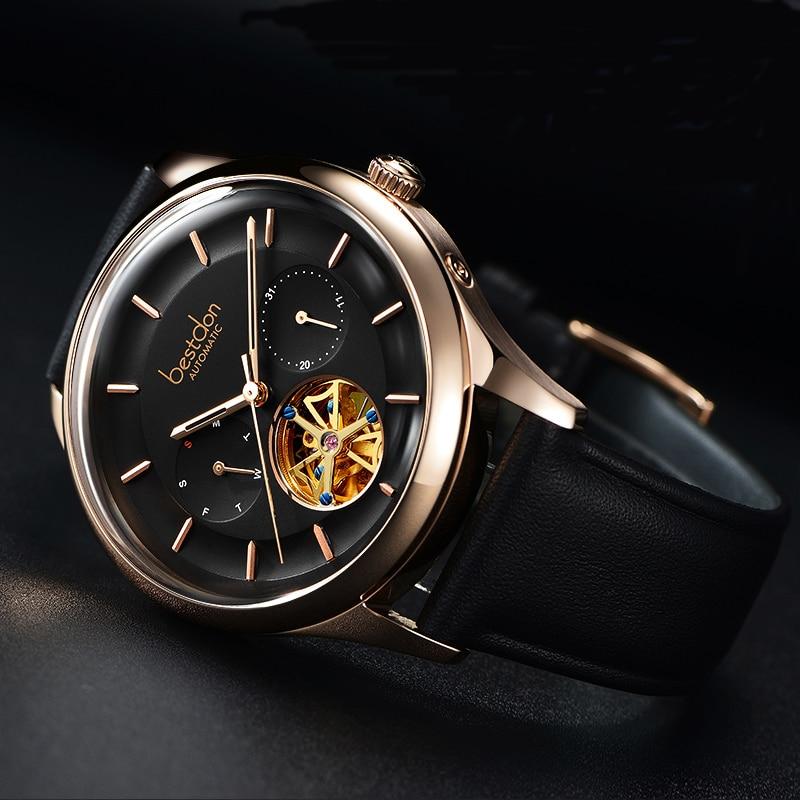 Bestdon Relojes hombres reloj mecánico automático Tourbillon deporte reloj de cuero de negocios ocasionales Retro reloj de pulsera Relojes Hombre