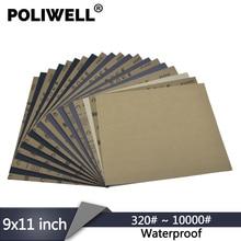 "POLIWELL 1PC 9""x11"" Waterproof Sanding Sheet Abrasive Paper 320~10000 Grit Wet/Dry for Automotive Sanding Furniture Polishing"