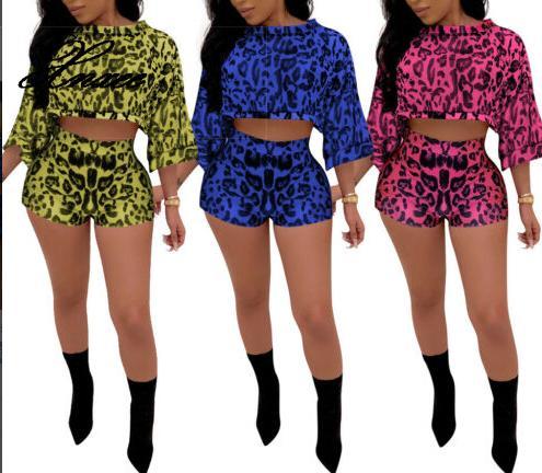 2pcs Casual Two Piece Set Women Summer Romper Losse Top Shorts Sport Outfits Ladies Leopard Fashion Women's Clothi