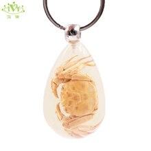 Conception innovante de haute qualité crabe Transparent larme goutte résine porte-clés lumineux chaîne porte-clés spécimens collecte bibelot