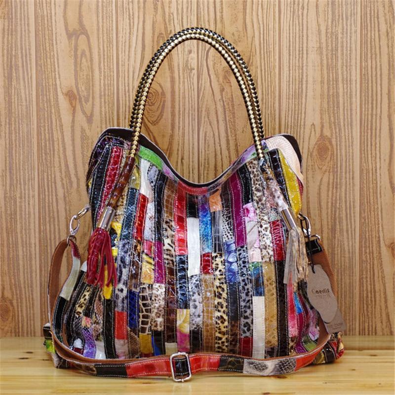 نساء حقائب يد جلدية الكتف حقائب كروسبودي حقائب جلدية حقيقية للنساء Bolsas السيدات حمل حقيبة ملونة شرابة ثعبان حقيبة
