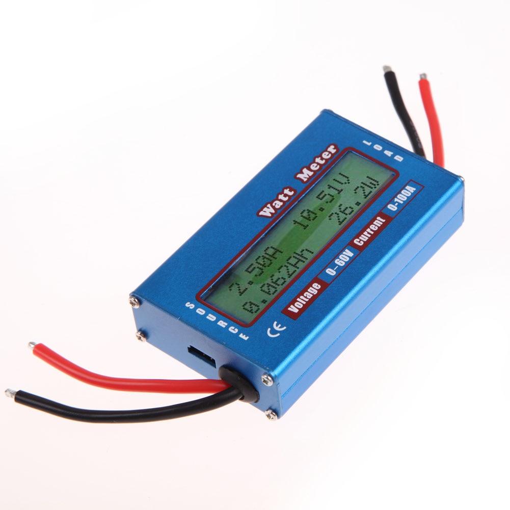 Watt Meter Digital Current Energy Meter 0-100A 4-60V LCD Display Power Analyser Watt/Volt/Amp Tester Ammeter Solar Wind Analyzer