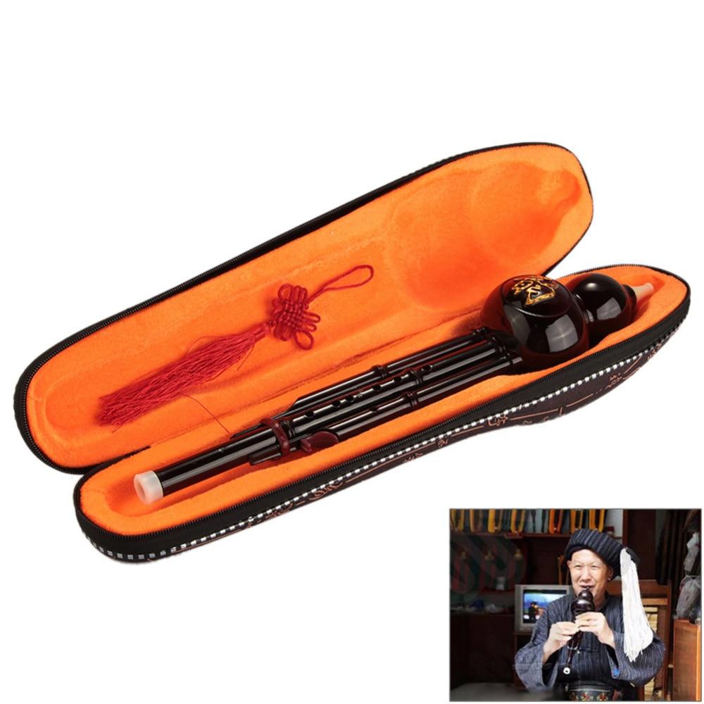 Flauta de clarinete desmontable Cucurbit chino Hulusi Gourd C/Bb Key Yunnan instrumento étnico de madera de viento con caja de regalo de nudo chino