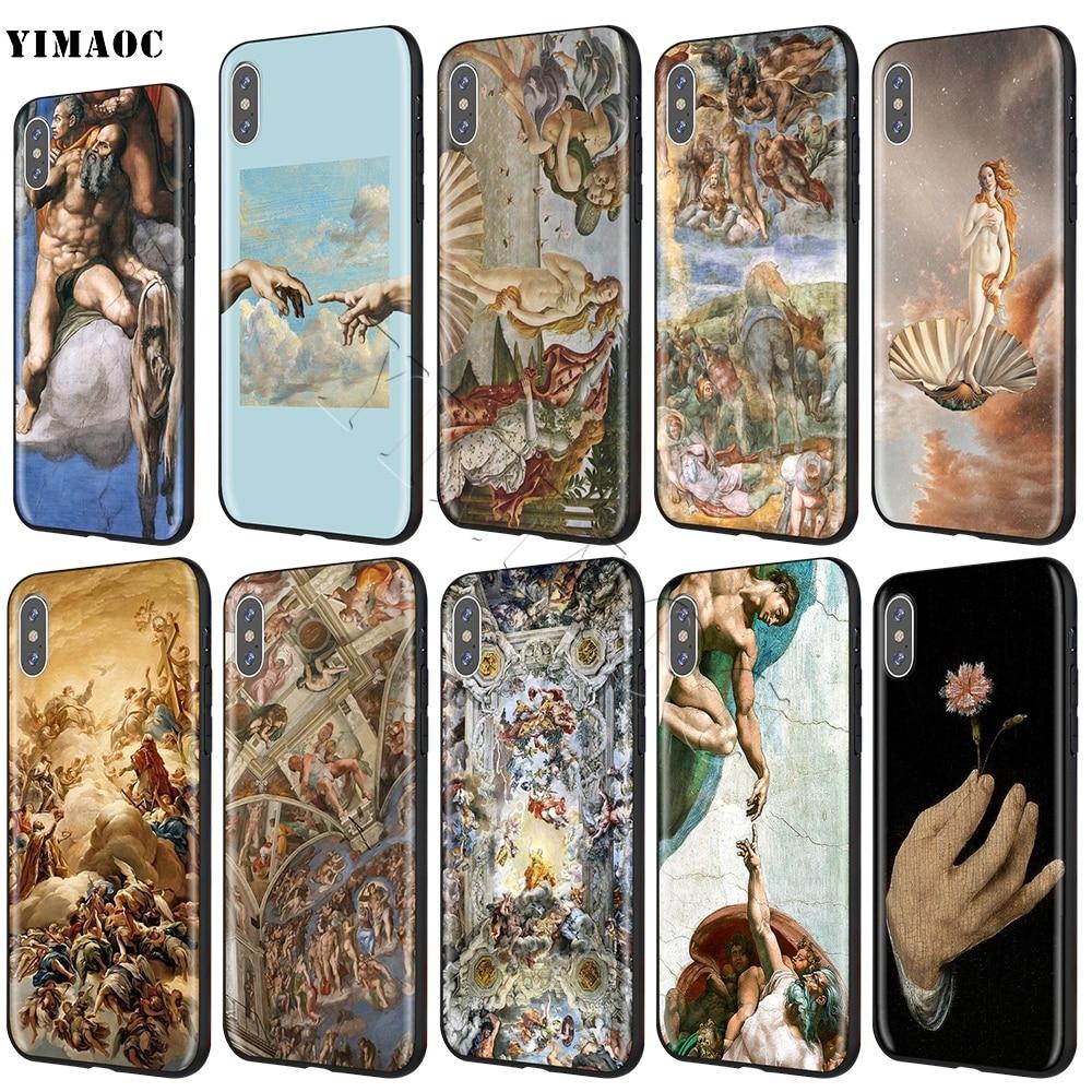 Funda YIMAOC Michelangelo de silicona suave para iPhone 11 Pro XS Max XR X 8 7 6S Plus 5 5S se