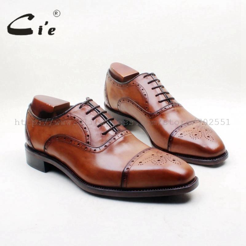 Полуброги cie с квадратным носком, на шнуровке, с вырезами и ручной росписью, коричневые, итальянские, Goodyear, 100% натуральная телячья кожа, мужская обувь OX714