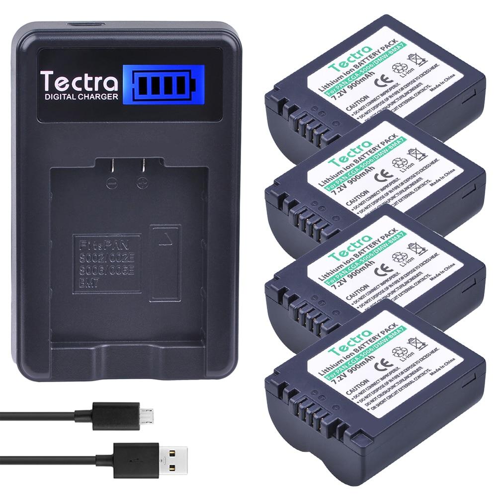 4 x CGA-S006 S006 S006A DMW-BMA7 DMW BMA7 batería + cargador USB con LCD para Panasonic DMC FZ7 FZ8 FZ18 FZ28 FZ30 FZ35 FZ38 FZ50