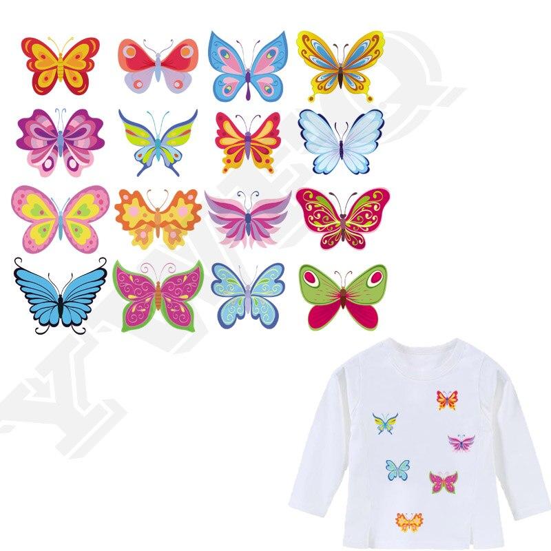 Conjunto de dibujos animados mariposas hierro en parche Parches Ropa camiseta Diy decoración A-nivel lavable 2018 nuevos Parches