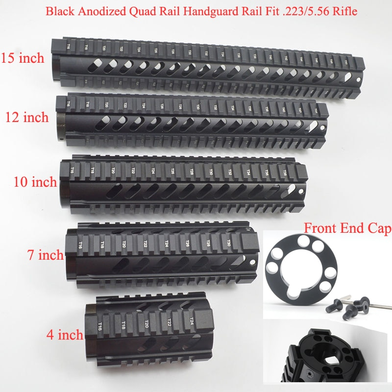 m4 m16 free float quad rail ar 15 tactical handguard picatinny quad rail mount for m4 m16 10 12 15 inch Black Anodized 4''7''10''12''15'' inch Quad Rail Handguard Free Float Picatinny Mount System With/Without End Cap