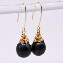 Черные серьги, натуральный черный шар с пламенем, ручная работа, золотая нить, женские жемчужные серьги, модные украшения