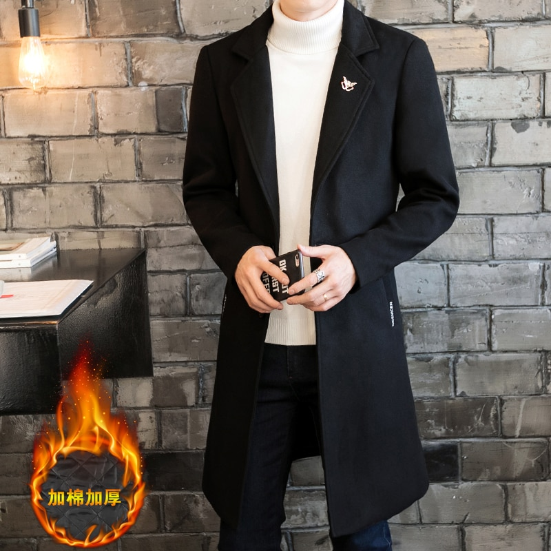 2019 Fashion Male high-grade slim Fit single-breasted long wool jackets/Men keep warm in winter Casual trench coat plus size 4XL
