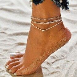 Trio tornozeleira de cristal para mulheres, conjunto de tornozeleira do pé descalço, crochê, sandálias, joias, verão, praia, tornozelo