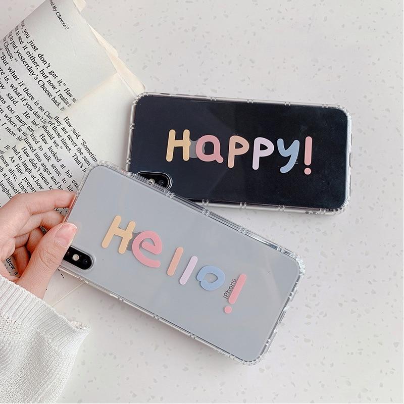 2020 Hola feliz cartas mensajes caso para iPhone 11 11ProMax 11Pro SE2020 6 6S 7 7 8 6Plus 7 7 8Plus X XS X XSMAX XR cubierta