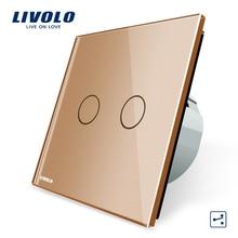 Fabricante, Interruptor táctil estándar Livolo EU, Control de vía 2 Gang 2, interruptor de luz de pared, VL-C702S-13 en Color dorado