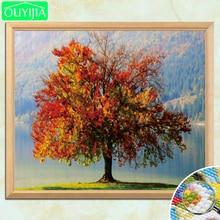 OUYIJIA-peinture à lhuile sur arbre doré   5D, peinture au diamant, strass carrés complets, mosaïque, broderie au diamant, en vente en bricolage