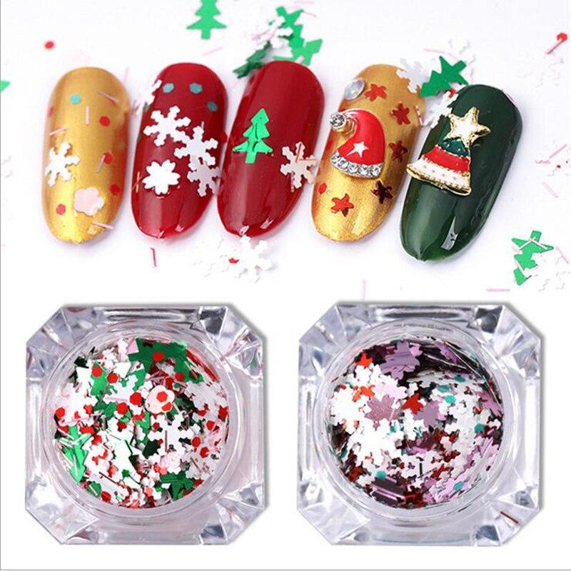 Adornos navideños con purpurina para uñas, brillantes 3D para uñas, Año Nuevo, copos de nieve, lentejuelas, anillo, campana, alce, Diseño de copo de nieve