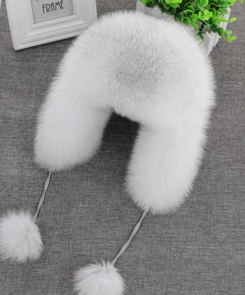 2020 100% Real Fox Fur Hat Women's Russian Ushanka Aviator trapper snow skiing Hat caps earflap wint