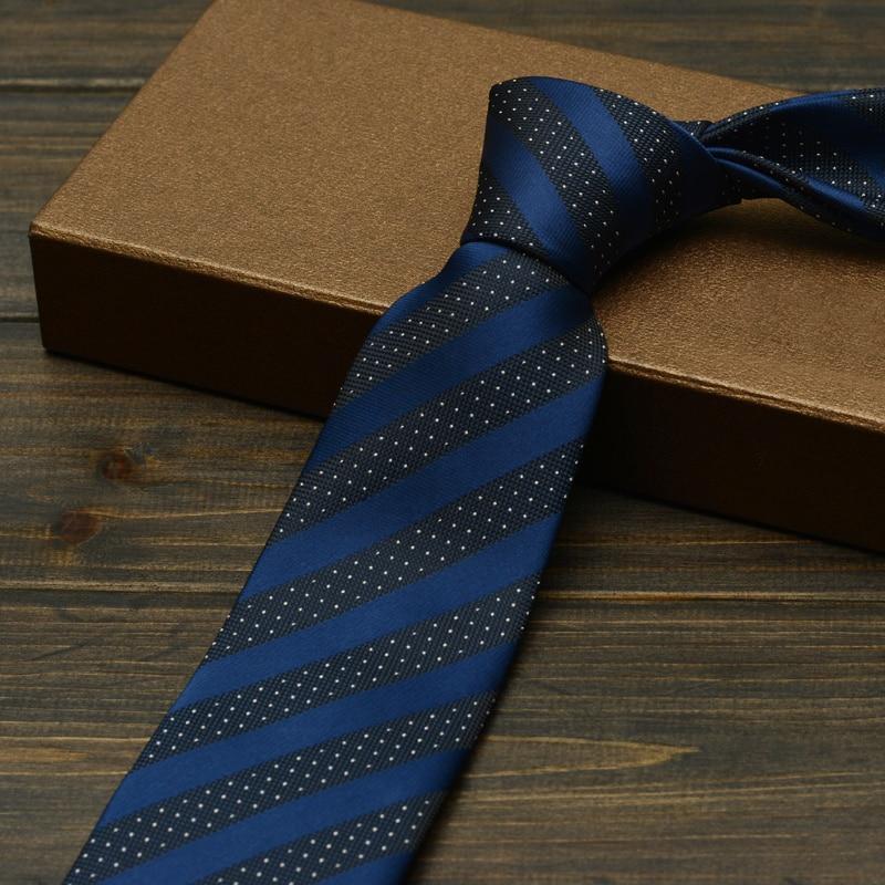 High Quality New Navy Blue Striped Ties for Men 7cm Designer Fashion Brand Necktie Office Work  Interview Suit Mens Formal Tie