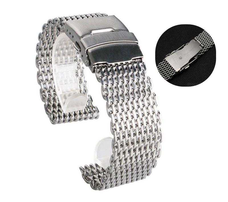 Ремешок для часов из нержавеющей стали, 18 мм, 20 мм, 22 мм, 24 мм, сетчатый Браслет с Миланской акулой, Серебристый браслет для часов Omega Tissot Seiko
