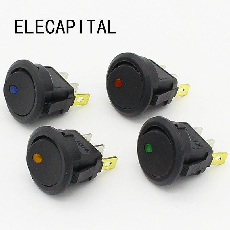 2pcs 12V led rocker switch Led Dot Light 3 pins ON-OFF Rocker Switch LED illuminated Car Dashboard Dash Boat Toggle SPST Switch