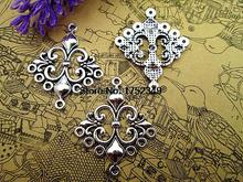 12 pièces-Antique tibétain argent belle croix épée fleur de lys lustre connecteur lien pendentif à breloque 29x35mm