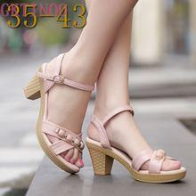 Nouveau été femmes sandales chaussures 2020 épais avec oL coréen été sandales grande taille en cuir véritable femmes chaussures sandales