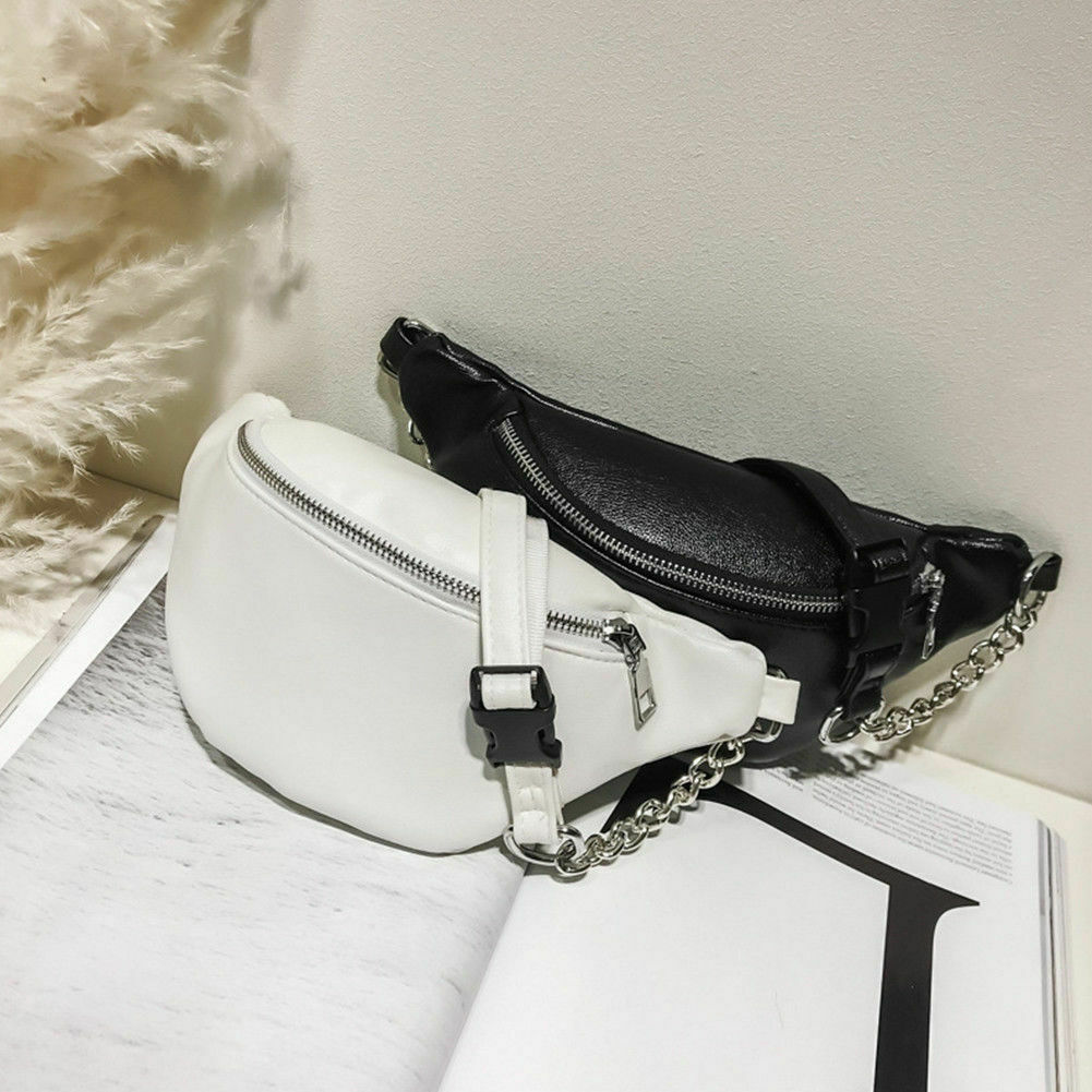 Mujeres de bolso de la cintura Fanny Pack bolsa de la PU bolso cuero Correa bolsa cuero bolso pequeño teléfono móvil bolsa de paquete de la cintura de bicicleta cinturón bolsa, bolso de hombro