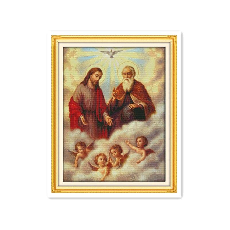 Décoration dramatique de salon jésus et petits anges   Kit broderie au point de croix, peinture de meubles faits main, cadeaux de couture