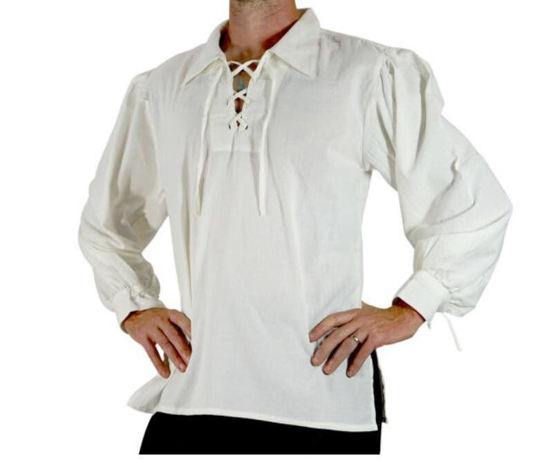 Homens adultos Medieval Renascentista Pirata Dos Noivos Túnica Top Traje Larp Rendas Até Camisa de Meia Idade Viking Cosplay Top