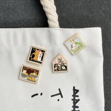 4 pièces/ensemble dessin animé chat chaton broche métal chaton Photo broches boucle Denim veste col de chemise épinglette Badge bijoux cadeau pour enfant